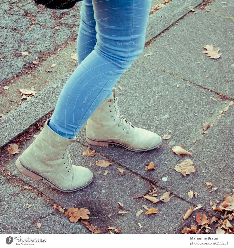 Woman Youth (Young adults) Blue Leaf Autumn Gray Legs Fashion Footwear Going Modern Clothing Jeans Sidewalk Lady Denim