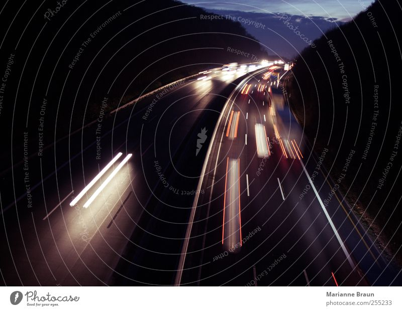 White Red Black Street Dark Movement Car Line Transport Speed Driving Tracks Highway Truck Traffic infrastructure Curve