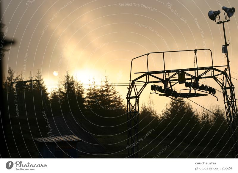sunset in the black forest Ski lift Sunset Tree Clouds Black Forest Dream Mountain ambient