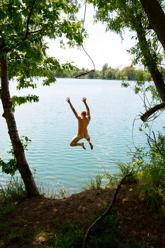 Human being Nature Youth (Young adults) Naked Summer Young man Tree Eroticism Joy 18 - 30 years Adults Natural Freedom Lake Swimming & Bathing