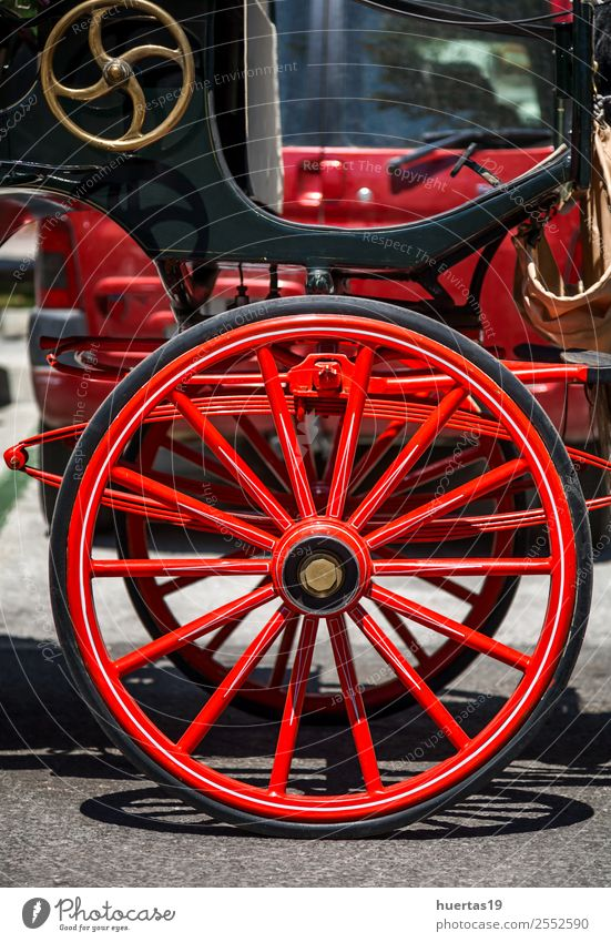 Typical car Spanish horses Transport Car Animal Horse Old Friendliness Happiness Red Carriage Characteristic Spain Mijas Malaga Andalucia wheel wood Classic