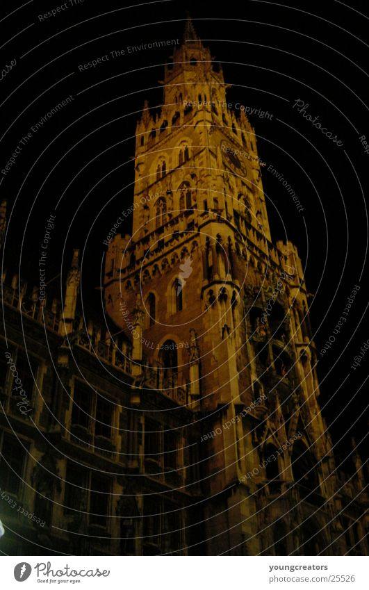 Munich downtown at night City hall City hall tower Historic Night Architecture Tower erienplatz