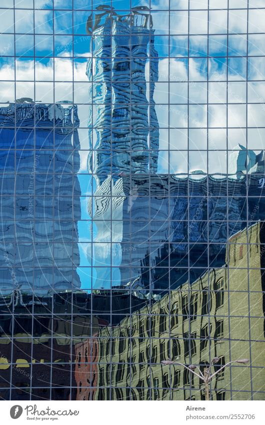 distorted reality North America Town Downtown Skyline Deserted House (Residential Structure) High-rise Building Architecture Facade Glass Grid Threat