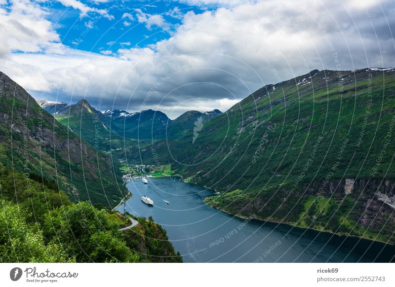 Nature Vacation & Travel Water Landscape Tree Relaxation Clouds Mountain Environment Tourism Rock Idyll Tourist Attraction Scandinavia Norway Fjord
