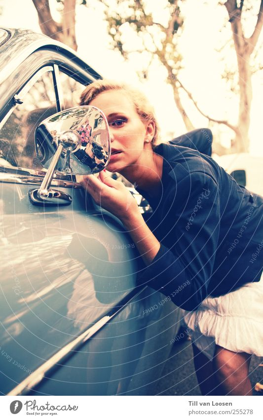 Human being Youth (Young adults) Blue White Beautiful Tree Adults Feminine Hair and hairstyles Car Fashion Car Window Blonde Stand 18 - 30 years Cool (slang)