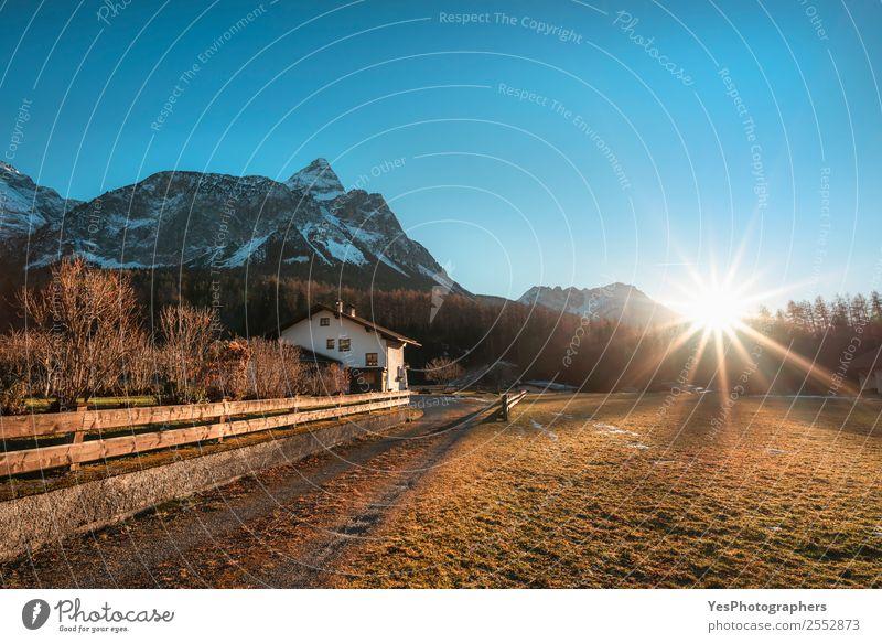 Winter sunshine over Austrian Alps and village Vacation & Travel Mountain Nature Landscape Ehrwald Village Tourist Attraction Multicoloured Afternoon Alpine