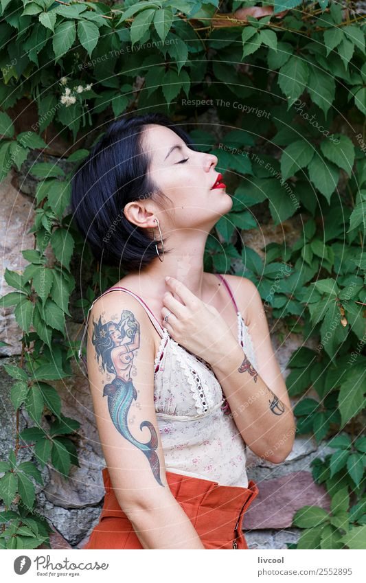 beautiful tattooed hipster girl Lifestyle Elegant Style Beautiful Body Summer Garden Human being Feminine Woman Adults 18 - 30 years Youth (Young adults) Nature