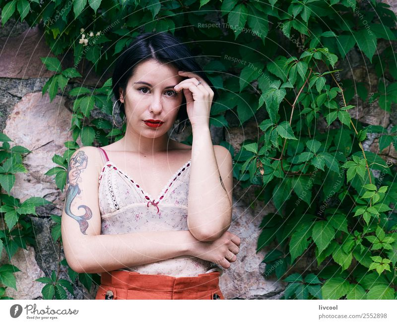 cute tattooed woman Lifestyle Style Beautiful Summer Garden Human being Feminine Woman Adults Body 1 18 - 30 years Youth (Young adults) Nature Park Fashion