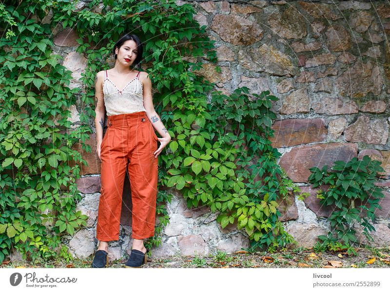 nice tattooed girl Lifestyle Style Beautiful Body Summer Garden Human being Feminine Woman Adults 1 18 - 30 years Youth (Young adults) Nature Park Fashion
