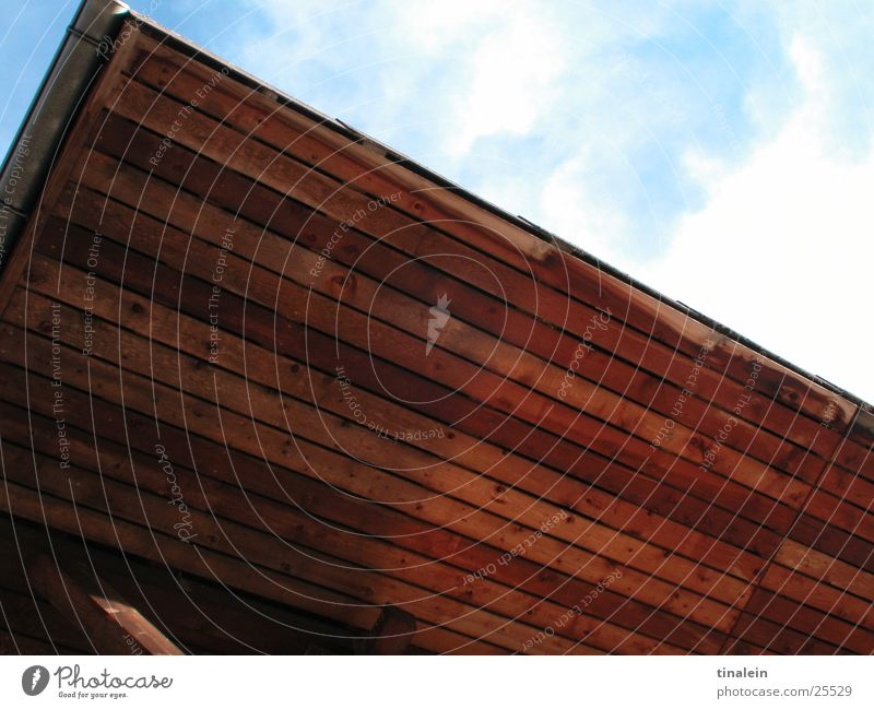 A piece of heaven Clouds House (Residential Structure) Switzerland Roof Wood Obscure Sky Graffiti Blue Perspective