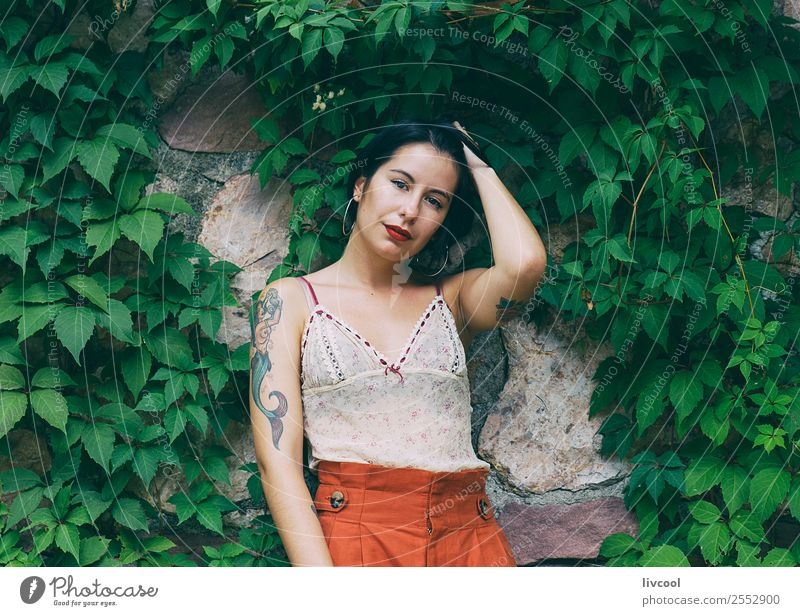 tattooed woman Woman Human being Nature Youth (Young adults) Summer Beautiful Green 18 - 30 years Lifestyle Adults Feminine Emotions Style Art Garden Fashion