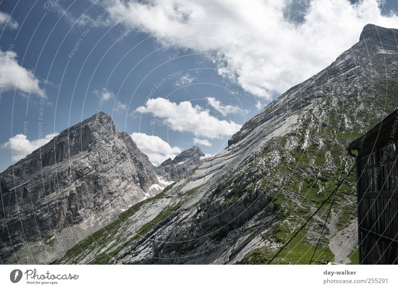 Sky Blue Green White Summer Clouds Snow Landscape Mountain Grass Rock Tall Alps Peak Beautiful weather Silver