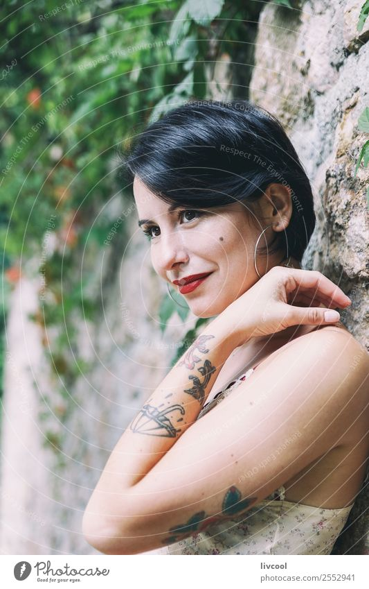 lovely tattooed woman Woman Human being Nature Youth (Young adults) Summer Town Beautiful 18 - 30 years Lifestyle Adults Feminine Emotions Style Garden