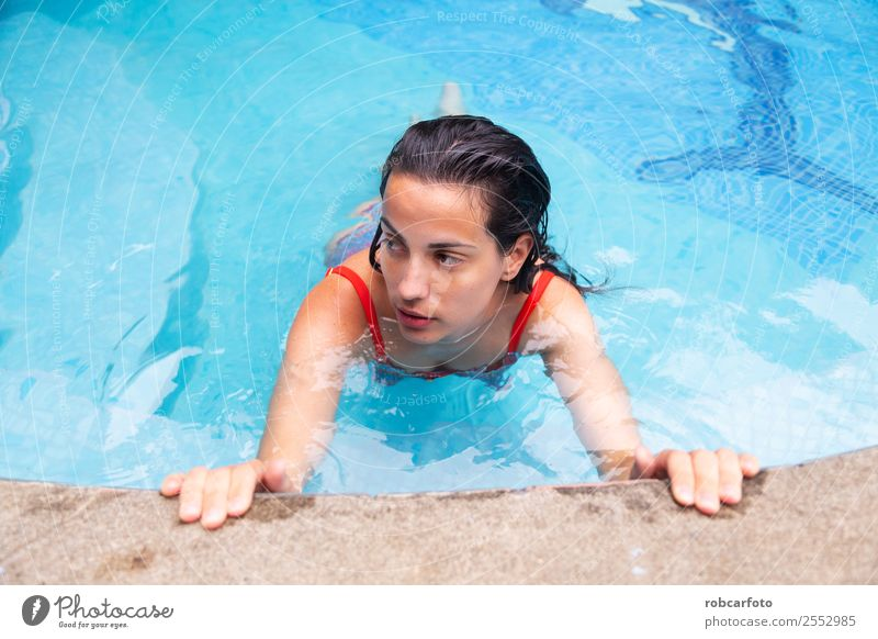 Woman in in pool with orange swimsuit Beverage Lifestyle Beautiful Body Relaxation Swimming pool Leisure and hobbies Vacation & Travel Summer Human being Adults