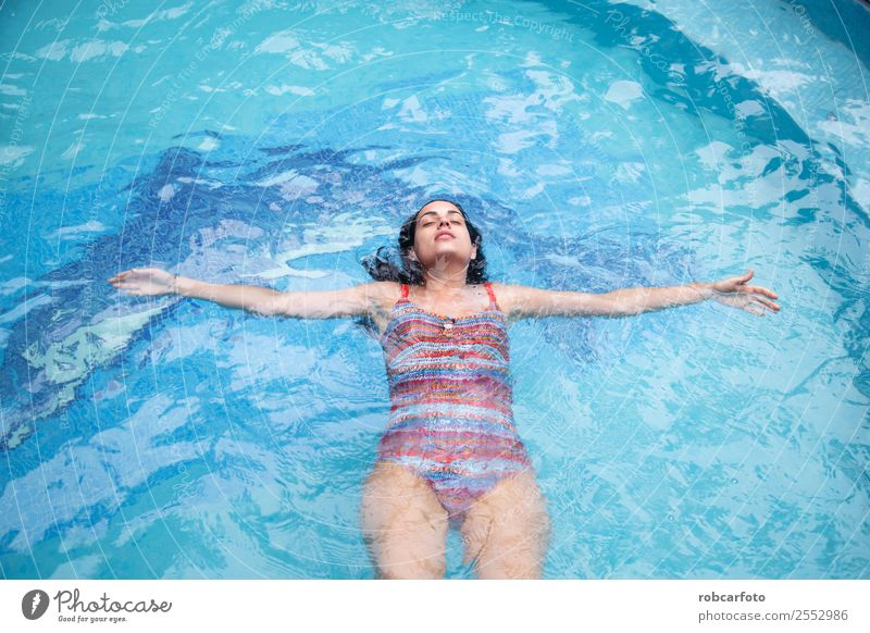 Woman in in pool with orange swimsuit Human being Nature Vacation & Travel Summer Blue Beautiful Eroticism Relaxation Lifestyle Adults Fashion