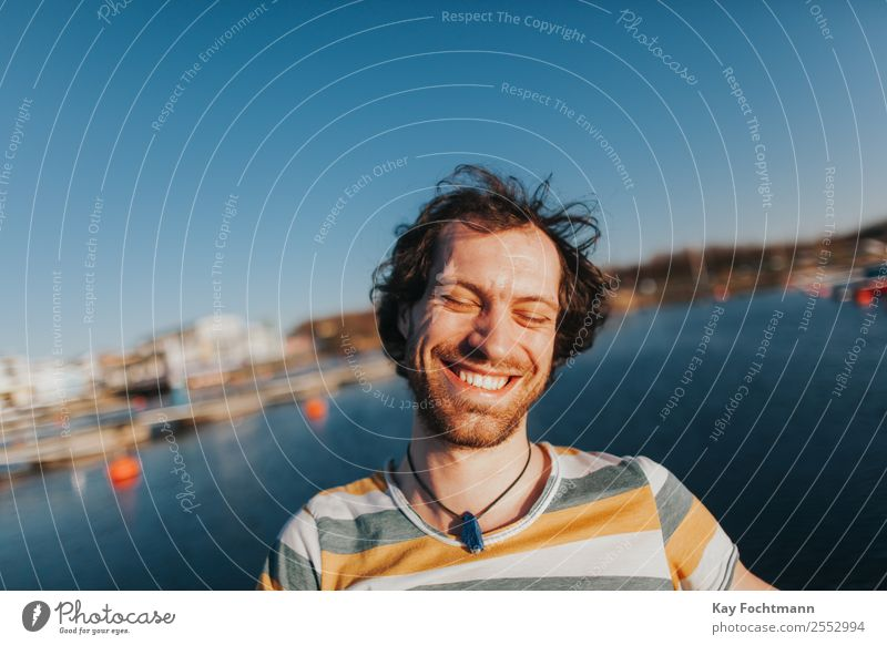 Portrait of happy laughing man at the lake Lifestyle Joy Happy Contentment Vacation & Travel Freedom Summer Summer vacation University & College student