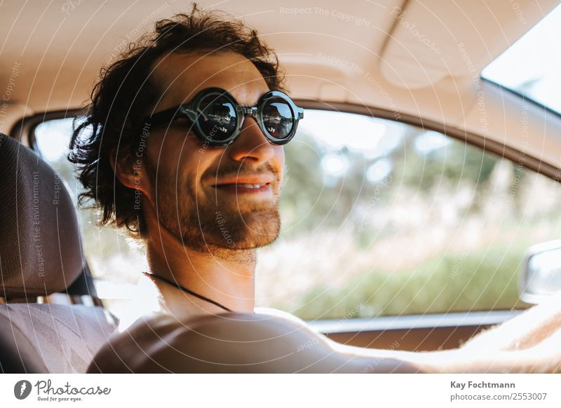 Smiling man with sunglasses at the wheel of his car Lifestyle Joy Leisure and hobbies Vacation & Travel Tourism Trip Freedom Summer Summer vacation Young man