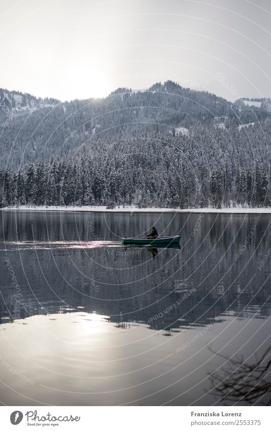 reflection Trip Winter Snow Mountain 1 Human being Nature Landscape Water Sky Forest Alps Peak Lake Contentment Subdued colour Exterior shot Copy Space bottom