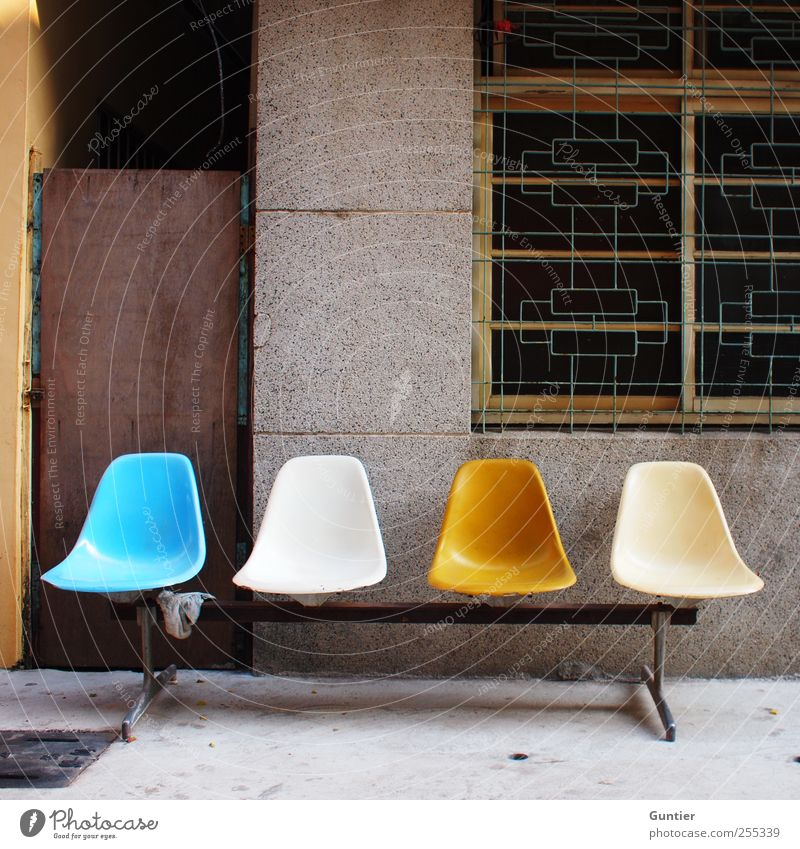 For you it should rain colorful pictures!!! House (Residential Structure) Blue Brown Yellow Gray Black White Seating Bench Backrest 4 Facade Grating Wait