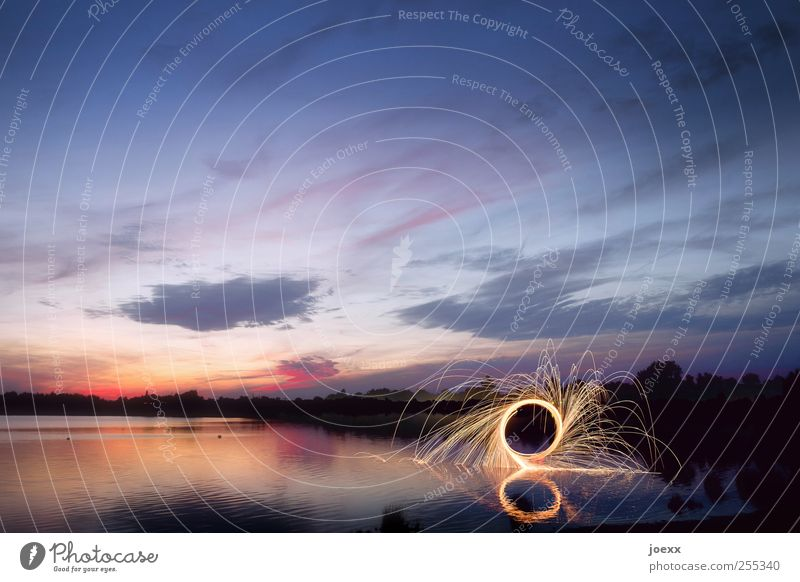 Sky Water Blue Red Clouds Black Yellow Landscape Movement Lake Energy Illuminate Round Lakeside Beautiful weather Spark