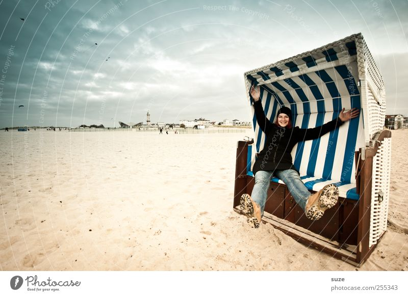 Human being Woman Sky Youth (Young adults) Blue Hand Ocean Summer Beach Joy Adults Freedom Coast Sand Laughter Legs