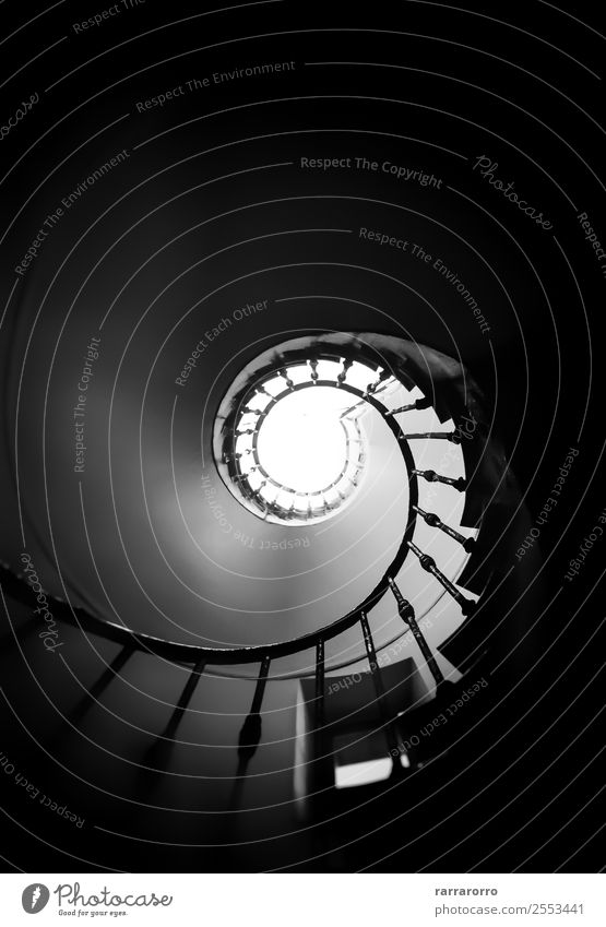 Black and white spiral staircase Design House (Residential Structure) Climbing Mountaineering Bottom Art Architecture Town Old town Building Stairs Metal