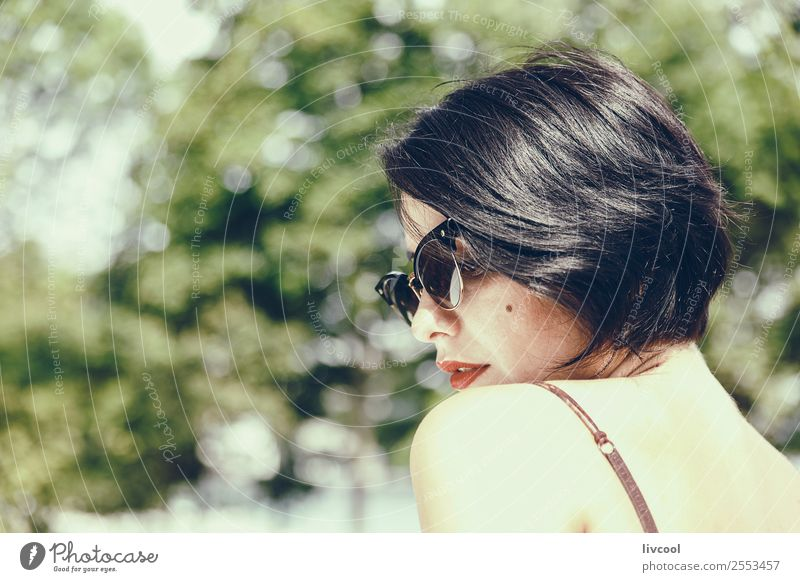 lady with sunglasses Lifestyle Elegant Style Beautiful Face Summer Garden Human being Feminine Woman Adults Head 1 18 - 30 years Youth (Young adults) Nature