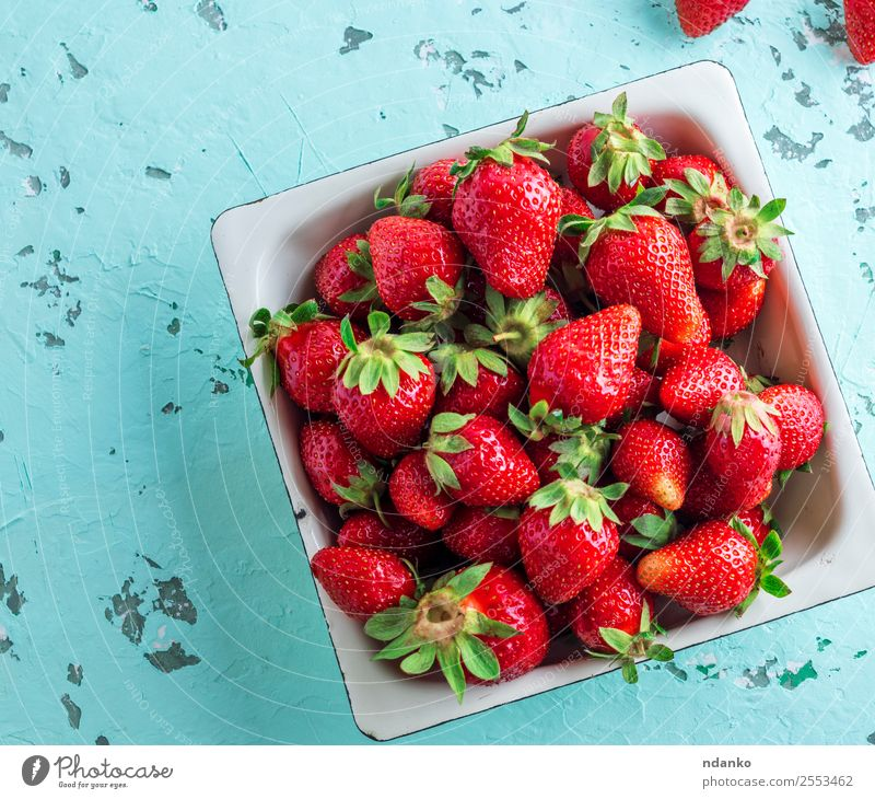 fresh ripe red strawberry Fruit Dessert Vegetarian diet Plate Summer Table Group Nature Fresh Natural Juicy Green Red Strawberry background Mature food healthy