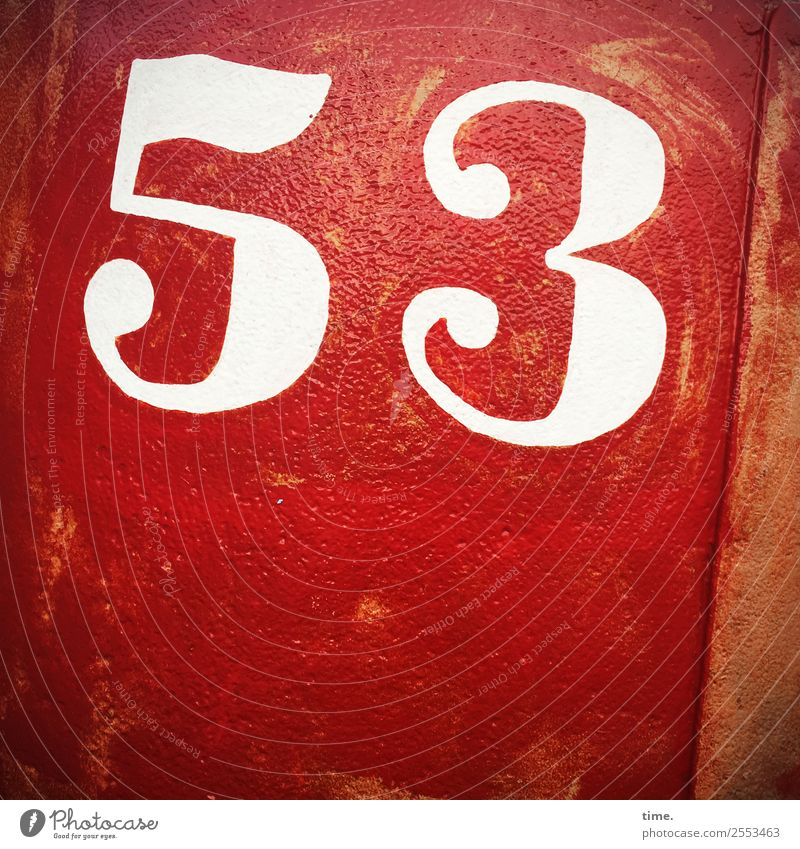 53 Metal daylight Colour Orientation Information number Red pink oldstyle hand-painted