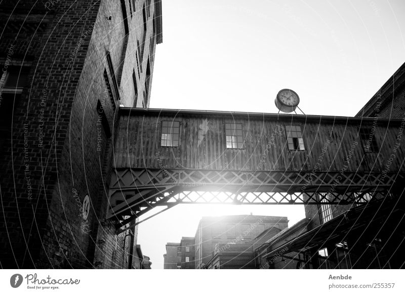 10:08 Leipzig Industrial plant Manmade structures Building Architecture Old cotton mill Spinning mill Clock Wood Brick facade Black & white photo Exterior shot