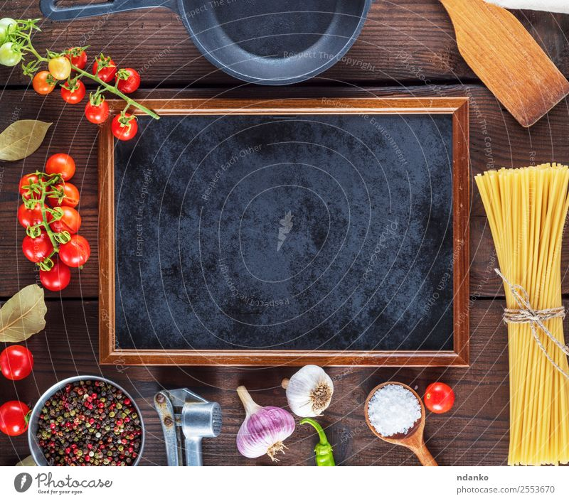 ingredients for cooking pasta Colour Red Black Eating Yellow Wood Copy Space Brown Above Line Fresh Large Herbs and spices Vegetable Tradition Baked goods