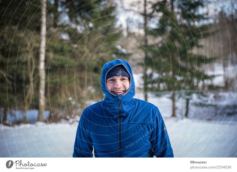 Human being Nature Man Blue Tree Joy Forest Winter Face Adults Healthy Cold Emotions Movement Happy Contentment