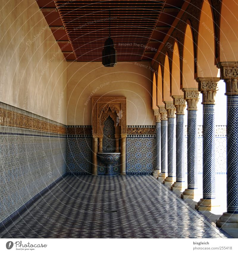 Blue Calm Far-off places Wall (building) Wall (barrier) Park Brown Floor covering Well Tile Column Spain Ceiling Sink Mosaic Andalucia