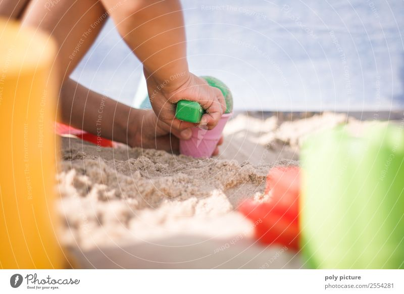 Child playing on the beach Healthy Leisure and hobbies Playing Vacation & Travel Tourism Trip Adventure Far-off places Freedom Summer Summer vacation Sun