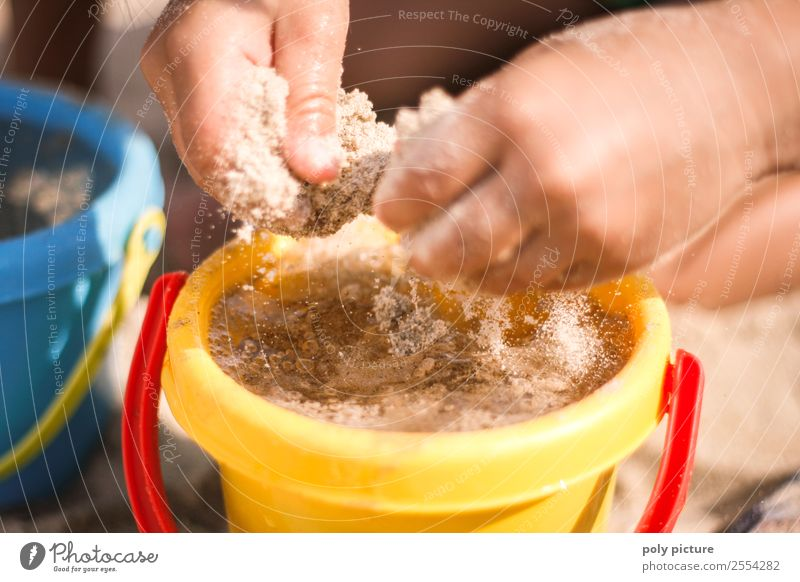 Children's hands playing in the sand on the beach Lifestyle Wellness Harmonious Playing Vacation & Travel Tourism Trip Summer Summer vacation Sunbathing Beach