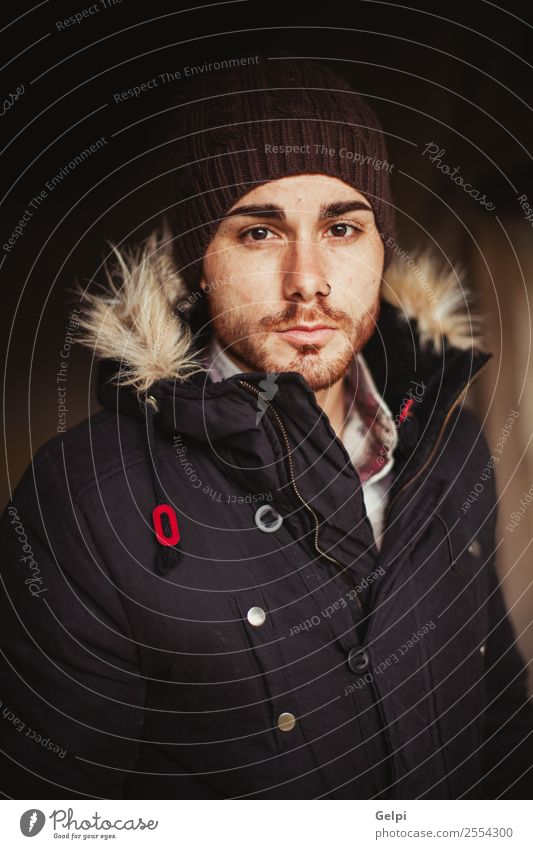 Portrait of attractive guy Lifestyle Style House (Residential Structure) Human being Boy (child) Man Adults Warmth Fashion Coat Piercing Hat Beard Old