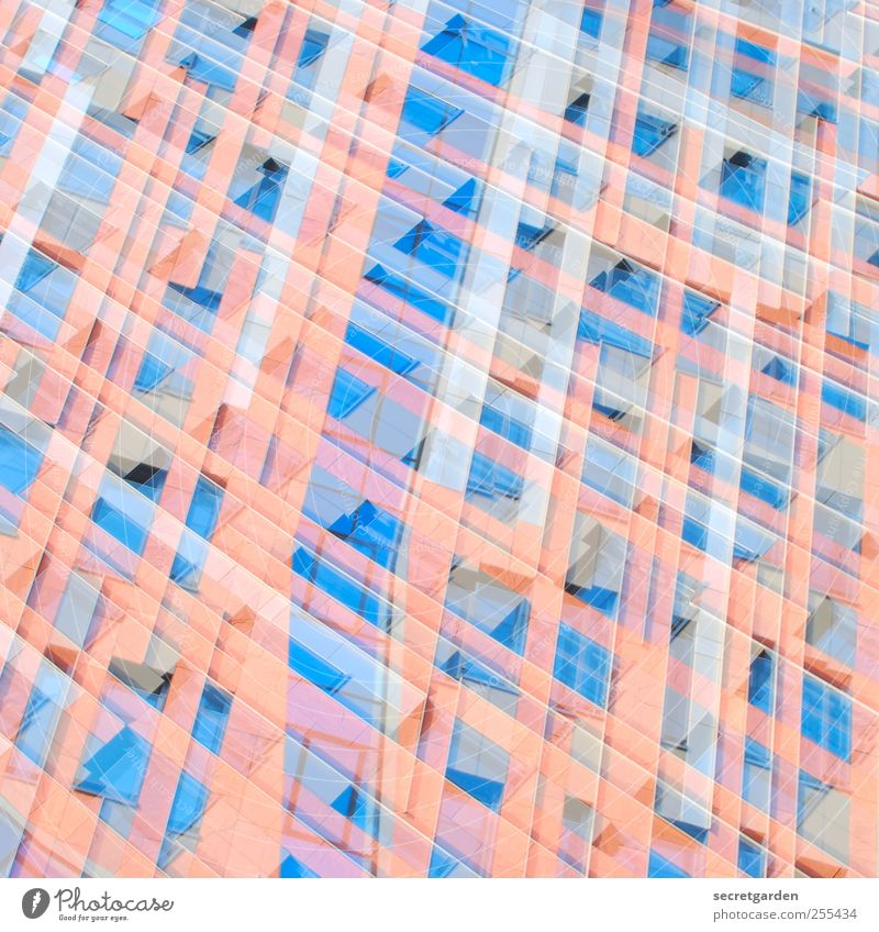 for you it shall rain colorful stones! Office High-rise Manmade structures Facade Crazy Blue Red Creativity Network Surrealism Dream Muddled Grid diamond