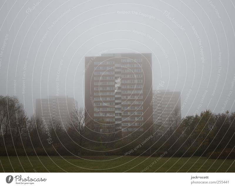 for you it shall rain colourful pictures (in the mist) Sky Autumn Bad weather Fog Marzahn Outskirts Town house (City: Block of flats) Tower block Facade Stand