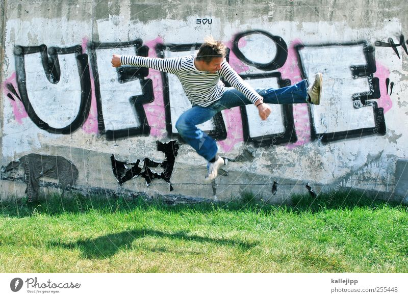 For you soll´s rain colorful pictures Lifestyle Human being Masculine Man Adults 1 30 - 45 years Graffiti Jump Karate Chinese martial art Shadow Tread