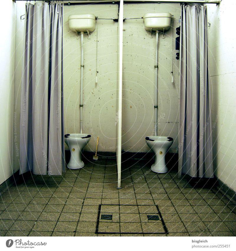 double toilet Dugout Bathroom Toilet Flush Drape Tile Iron-pipe Sit Dirty Trashy Gloomy Gray Green White Colour photo Subdued colour Interior shot Deserted
