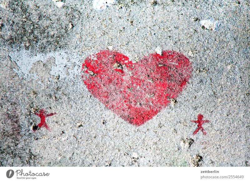 heart Heart Love Together Relationship Couple In pairs Affection Romance Concrete Weathered Colour Red Street art Lovers 2 Illustration Drawing Spring fever