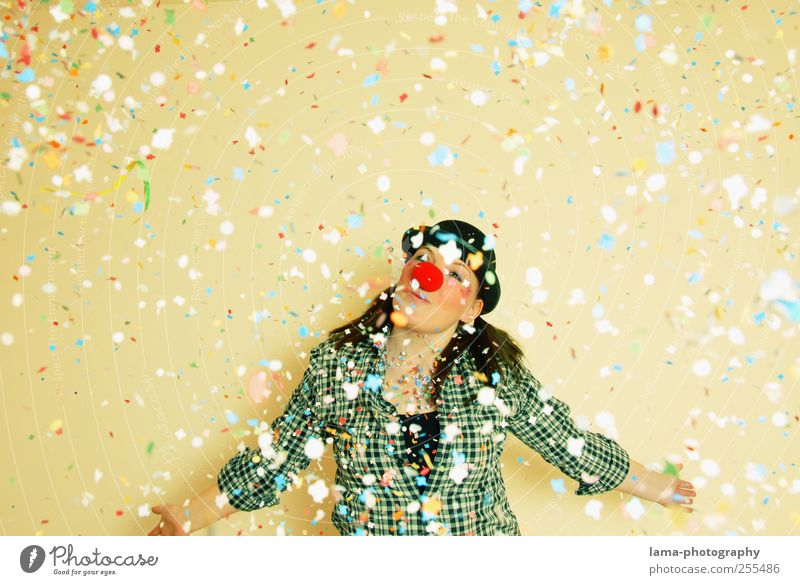 For you it shall rain colorful confetti! Carnival Birthday Clown Young woman Youth (Young adults) Nose 13 - 18 years Child 18 - 30 years Adults Confetti