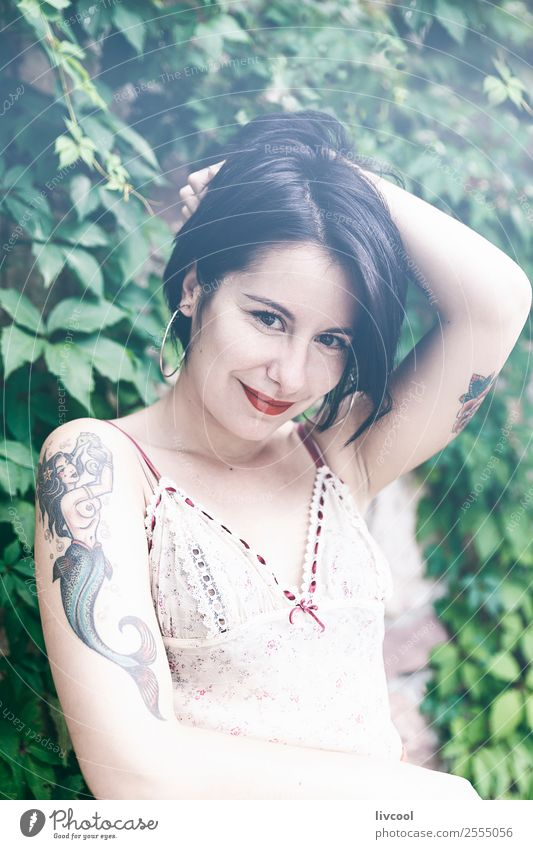 cool tattooed woman Lifestyle Style Beautiful Summer Garden Human being Feminine Woman Adults Body 1 18 - 30 years Youth (Young adults) Nature Park Fashion