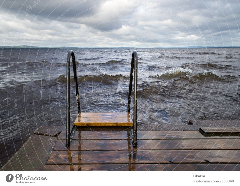 Storm at the bathing place Freedom Summer Summer vacation Waves Lake Ladder Nature Water Clouds Bad weather Gale Sweden Bathing place Footbridge Threat Gigantic