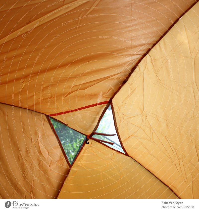 Tent Tent ceiling Tent camp Tent door Camping Camping site Orange Vacation & Travel Plastic Backpacking Backpacking vacation Colour photo Multicoloured