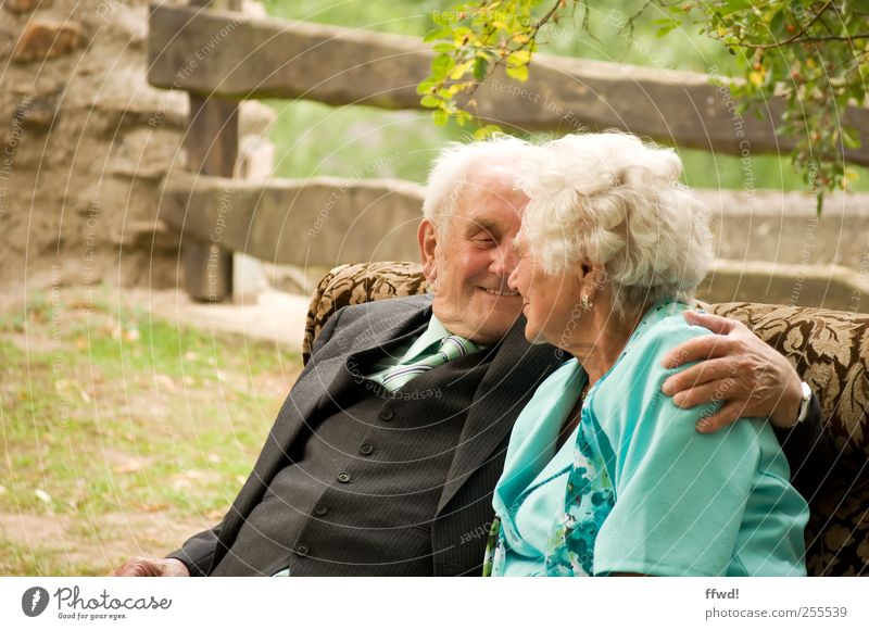 Human being Woman Man Love Life Emotions Senior citizen Happy Couple Together Contentment Sit Masculine Happiness To hold on Smiling