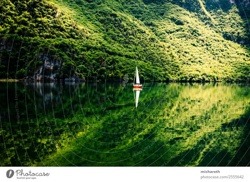 Sailboat reflection Leisure and hobbies Vacation & Travel Tourism Trip Adventure Freedom Summer Summer vacation Sun Mountain Sailing Environment Nature Climate