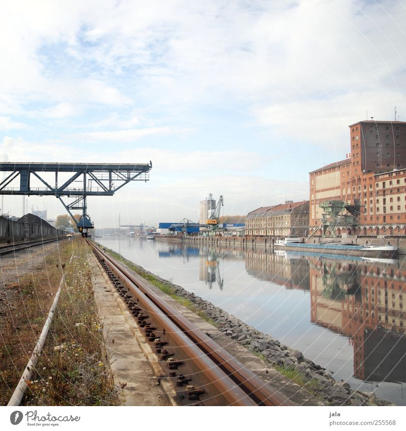 Rhine harbour Sky River Industrial plant Factory Manmade structures Building Architecture Inland navigation Harbour Dockside crane Railroad tracks Gloomy Town