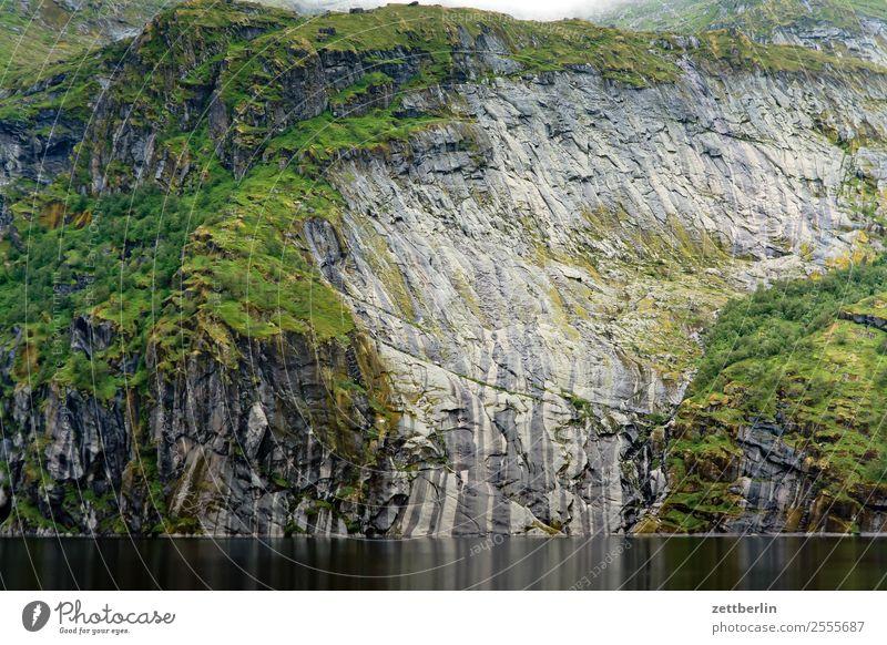 Treildalsvatnet Mountain Mountain lake Arctic Ocean Europe Rock Rock formation Vacation & Travel Fjord Slope Steep Steep face Stony Landscape Lofotes Maritime