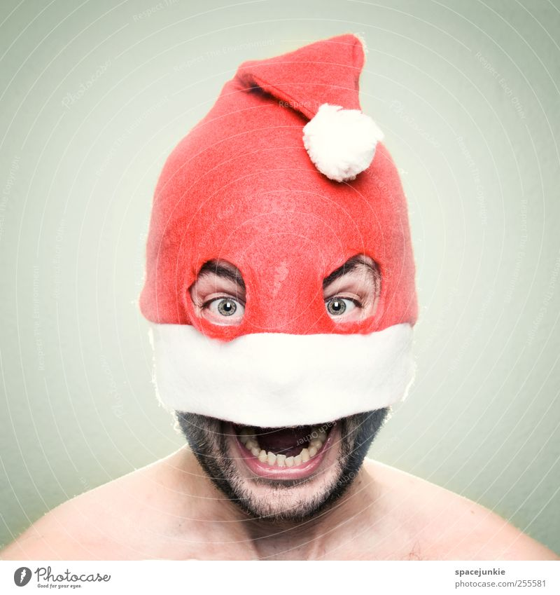 Merry Christmas! Human being Masculine Man Adults Head 1 30 - 45 years Scream Creepy Crazy Red White Surprise Anger Joy Cap Whimsical bank robber Eyes